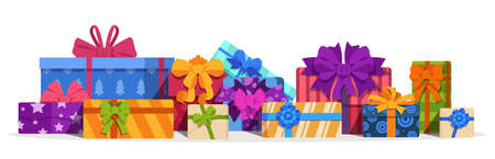 Gift boxes. Christmas present and birthday gift with decorative bows, ribbons. Bright colors volume square cardboard packaging, festival surprises template. Vector pile of New Year and holiday gifts 矢量图像