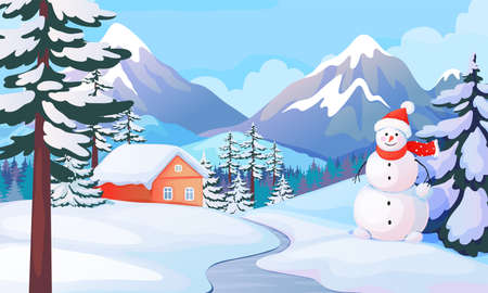 Winter snowman landscape. Cute house in snowy mountain valley. Cartoon background with snow drifts and children ice sculpture. Cold season view, New Year greeting card.