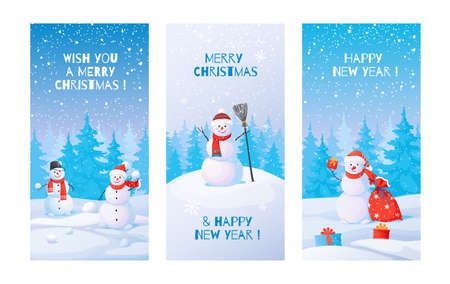 Winter posters. Snowman with snowdrifts. Cute winter landscape with Christmas and New Year greeting text. Collection holiday cartoon illustrations or celebration postcards.