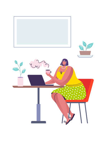 Female in cafe. Cartoon woman sitting in coffee shop drinking and communicating. Adult girl with laptop, freelance worker. Indoor home or restaurant interior. 矢量图像