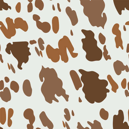 Brown cow pattern. Seamless texture of domestic animal, rural print for dairy products and milk branding. Camouflage in beige colors for military style clothing.