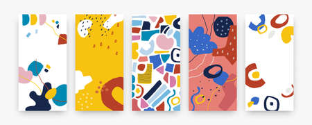 Doodle abstract cover. Modern geometric appliques collection, hand drawn graphic shapes and trendy symbols. Round and square forms, drops, blobs and outlines composition. Vector decorative posters set