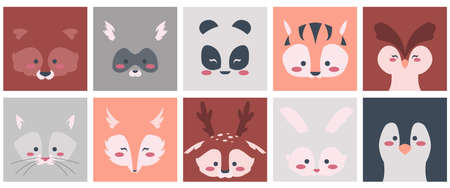 Animal faces. Cartoon square shapes with cute baby animalistic faces, raccoon fox rabbit deer bear and other woodland characters. Outline portrait template for teens clothes and kids goods vector set 矢量图像