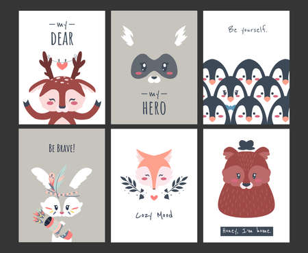 Cute animal posters. Funny cartoon woodland creatures and penguins for banners, greeting cards. Collection invitations with little characters and lettering. Vector minimalistic fauna kids postcards