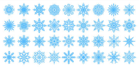 Blue snowflakes icons. Christmas and New Year decorative elements for banners, postcards and greetings. Winter flakes textile template or Xmas presents wrapping paper. Vector snow stars clip art set