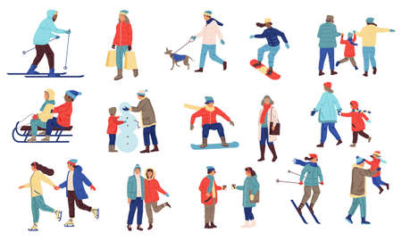 Winter activity people. Cartoon crowd of characters playing snowballs, snowboarding, skiing. Family walks with dogs, outdoor extreme sport. Cold season outerwear and goods advertising vector set