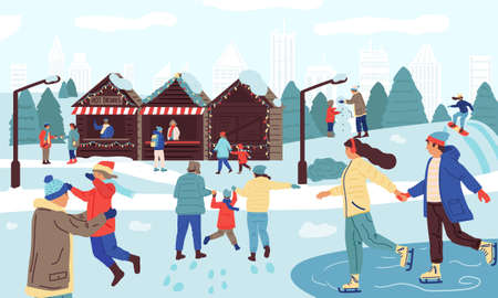 People in winter park. Cartoon happy families doing seasonal winter activities, skating, snowboarding, skiing. Snowy city park with ice rink and local food and gift shops. Vector outdoor illustration