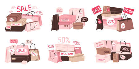 Sale shopping bag. Paper discount and special offer grocery packets, boxes for purchases. Stack of shop containers with price reduction percent symbols. Vector store promotion advertising template set
