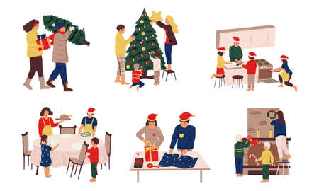 Preparing Christmas. People celebrate winter holidays. Family decorating tree and fireplace, packing presents, cooking tradition Xmas dinner. Isolated December scenes, home activities set