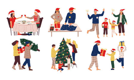 Christmas celebration scenes. Cartoon family and friends celebrating holidays. Cute kids and adults prepare Xmas dinner, presents, gifts, decorate home. People winter activities, vector December set 矢量图像