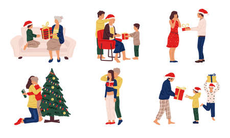 People with Christmas presents. Cute family and friends giving and taking holiday gifts. Winter celebration scenes, December invitation cards templates. Vector cartoon couple, kids and adults set