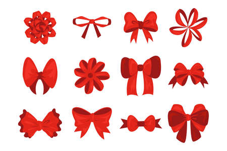 Red cartoon bow. Christmas ribbons for gift box and greeting cards, flat isolated wrapping silk rope. Birthday present decoration, realistic knot for promotion prizes template vector holiday set