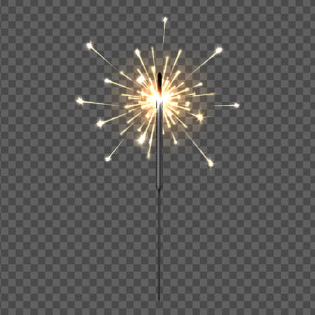 Birthday party sparklers lights. Firework decorative element for greeting cards, Christmas flame fountain. Isolated yellow holiday bengal fire on transparent background. Vector 3D flares illustration 矢量图像