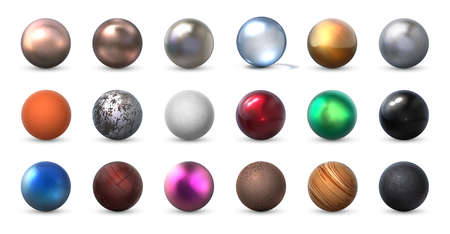 Texture spheres. Realistic 3D balls of a different materials. Collection matte and shiny round forms from steel, plastic. Branding, company identity template, colorful geometric shapes set