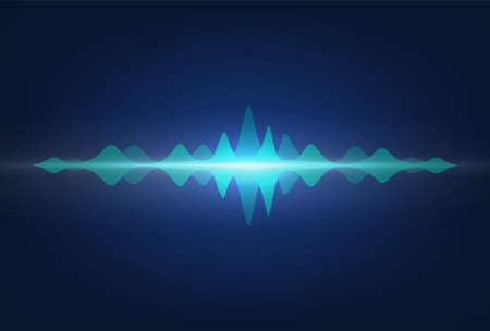 Sound waves. Frequency audio signal amplitude. Neon wavy highs on recorder display. Media technologies for soundtracks recording in a music studio.