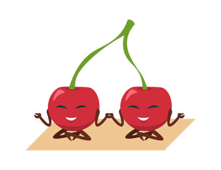 Funny cherry yoga. Cartoon fruit mascot meditating or doing sport exercise, berries set on gymnastic mat. Cute emblem template, plant food talisman. Greengrocer product for vegans, vector illustration