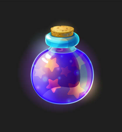 Magic potion. Alchemy violet substance in closed tube. Fantasy computer video game wizardry ingredients, round form phial with star shining liquid. Vector poison or panacea drink flat illustration
