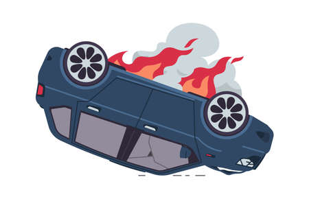 Burning car. Cartoon auto accident, an inverted car with fire. The damaged vehicle, broken windows, and dark smoke. Tow truck advertising, road traffic poster. Illusztráció