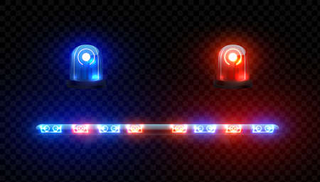 Realistic ambulance siren. 3D red blue lamps of police car on transparent background. Vehicle electronic light equipment for attract attention, patrol or medical auto bulbs. Vector led illumination