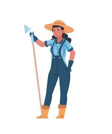 Woman farming. Cute girl stands with the hoe. Cartoon harvesting, garden tools, and outfit for work. Advertising of goods for growing agriculture plants, hobby and countryside lifestyle Illusztráció