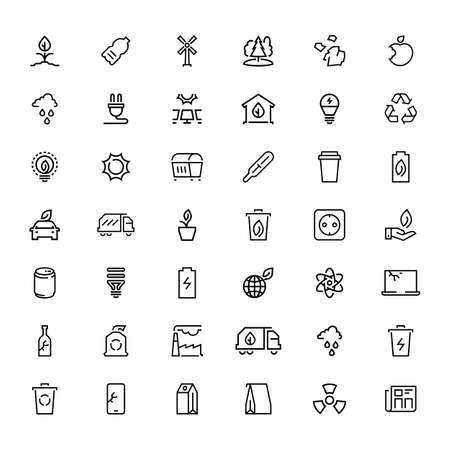 Line icons. Ecology nature green sign collection. Energy and bio symbols. Outlines objects for label, products or service advertisement template. Illusztráció