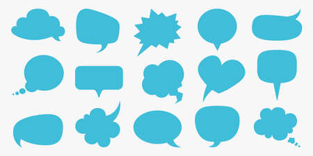 Speech bubbles. Blue blank comment balloons set, thought empty text bubble symbol, comic think cloud different forms template round square heart shape, cartoon isolated on white collection Illusztráció
