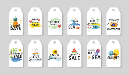 Summer sale labels. Cartoon tropical white cards with colorful hand-drawn beach illustrations. Seasonal discount template, cute collection special offer tags mockup.
