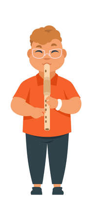 Boy musician. Cute kid playing musical instrument on party or in class. Isolated standing child with flute. Talented young man at performance. Music school or shop advertising vector flat illustration