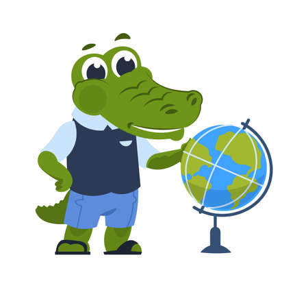 Cartoon crocodile with the globe. Cute alligator in clothes learns geography. Education and school equipment template, child uniform shop advertising.