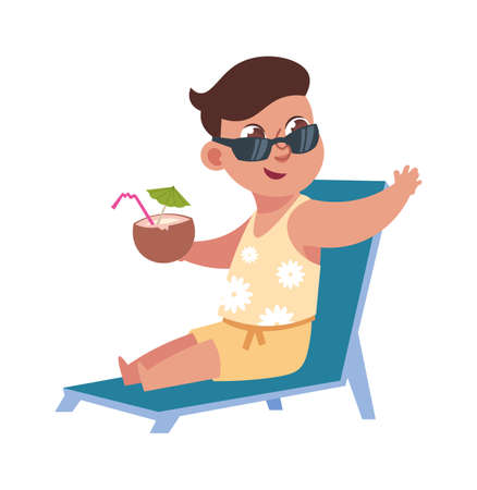 Flat child character in the summer holidays at the beach. Cute boy sitting on the lounge with a tropical cocktail in a coconut. Illusztráció