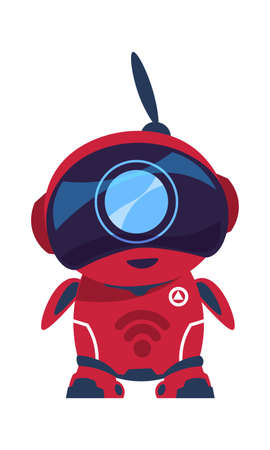 Friendly robot character. Red android with antenna. Smart toy, cartoon electronic mascot. Digital assistant template for website support. Technology innovation event advertising illustration