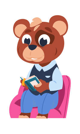 Funny bear character. Cute cartoon animal reading book. Little forest citizen sitting and studying. Schoolchild uniform shop, advertising publications and clothes for kids, nature illustration Illusztráció