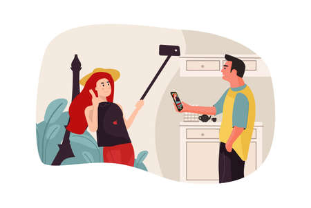 Man and woman talking on the phone. Taking selfies and video calls. New technologies connection, people communicate on smartphones. Young couple speaking, girl and boy relationship, illustration