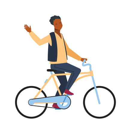 Man riding on bicycle. Cyclist african guy rides on bike and waving hand teenager outdoor activities in park, simple young character healthy leisure lifestyle flat vector cartoon isolated illustration 矢量图像