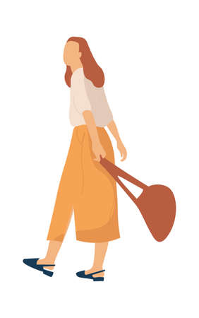 Modern cartoon female person. Woman character going for walk in park. Girl walking outdoor in skirt and blouse with bag, trendy clothes combination leisure activities vector flat isolated illustration 矢量图像