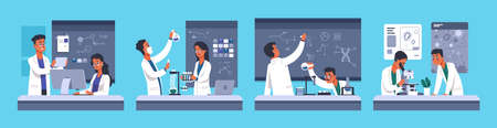 Scientists. Cartoon lab workers in white coats, chemical medical researchers. Biotechnology and microbiology experiment. People work in a modern laboratory with professional equipment, concept