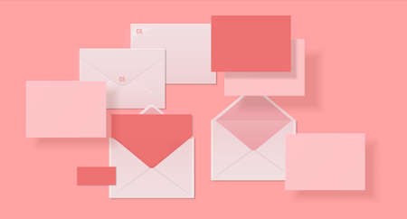 Realistic envelopes. Paper or cardboard 3D mockup design, template for corporate branding with shadows and crumple effect. Open and close letters, pink postcards with copy space, vector isolated set
