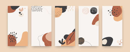 Abstract shape covers. Cute modern doodle posters with hand-drawn beige and brown shapes for social media content, marketing digital post, prints, and flyers modern vertical banner set templates Illusztráció