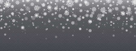 Snow background. Realistic snowflakes, Christmas snowfall overlay texture, cold season effect. Greeting and invitation cards decoration template.
