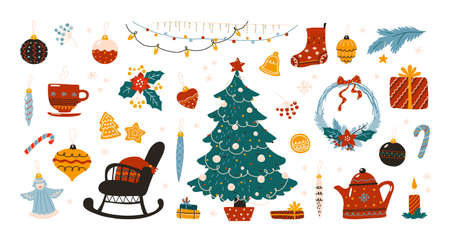 Doodle Christmas. Scandinavian hygge winter traditional holiday decoration elements, cozy Xmas tree with star and garland, tea and cookies, New Year presents. Vector December home interior decor set