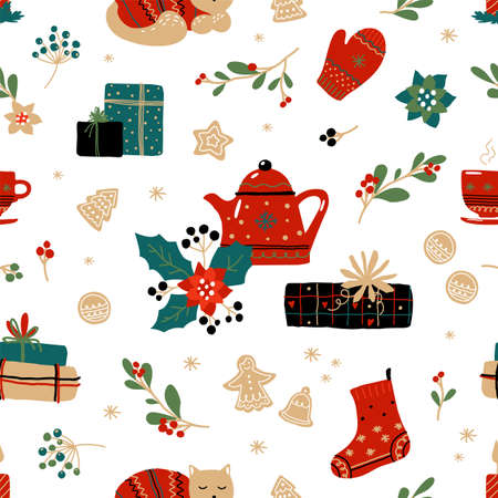 Christmas doodle pattern. Seamless texture with winter holiday home decoration, Xmas tree. Wrapping paper, textile and New Year presents packaging template.
