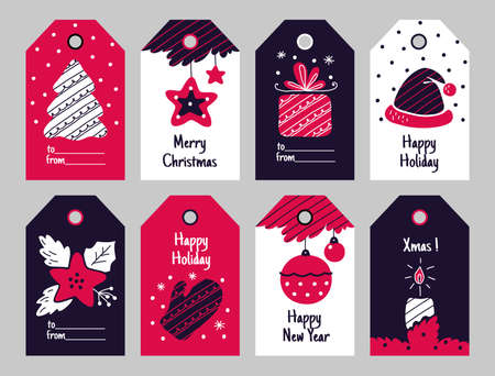 Christmas tags. New Year present and Xmas gift labels with winter holiday decorative elements. Festive tree and poinsettia, balls and santa hat, candle and wrapped box vector cartoon paper sticker set