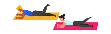Gym exercises. Cartoon man and woman doing sport actions on gymnastic mat. People lie and wave legs. Pilates yoga training advertising, fitness center template.