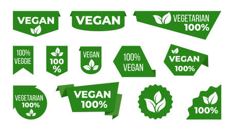 Vegan green ribbons and banners. Veggie tags and stickers with leaves graphic design template. Vegetarian eco food natural emblems.