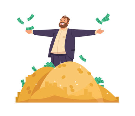 Millionaire or banker. Cartoon man scatters banknotes, rich male among piles of gold. Business success or casino lottery winning, profitable investment advertising. Vector happy gentleman with money