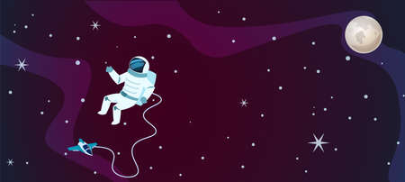 Cartoon space background. Galaxy universe design with astronaut, spaceship and moon. Sun system view, shuttle and spacemen in spacesuit, stars and planet. Vector cosmic discovery flat illustration