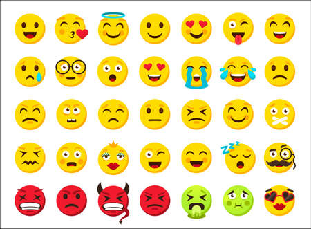 Cartoon emoji. Smile emoticon symbols. Digital chat icons. Online messenger sticker. Yellow and red evil round smiley, fun and sad facial emotion clipart collection. Vector web template isolated set Illusztráció