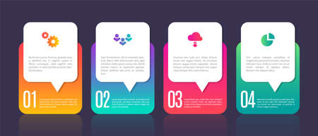 Infographic template chart elements. Business process with four steps. Digital presentation, web site interface, smart mobile option. Vector organization bright information diagram, template with text Illusztráció
