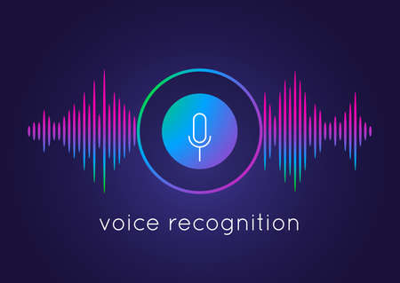 Voice recognition concept. Artificial intelligence recognizes speech. Microphone round button icon and soundwave. Smart technologies, media application template. Vector audio recording illustration
