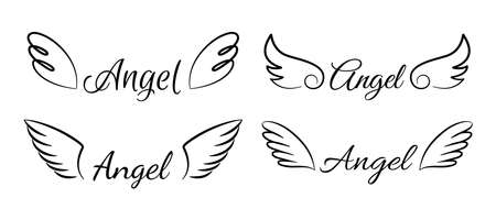Cartoon flying angel wings. Cute angelic emblem with calligraphic text. Collection of isolated signatures and one-line drawing. Lettering decorative template for scrapbooking. Vector elegant font set Illusztráció